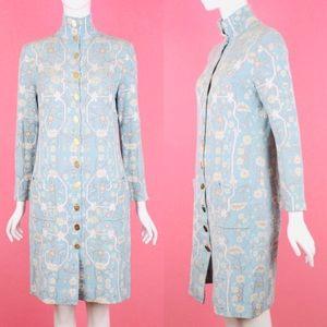 SALVATORE FERRAGAMO Blue Floral Knit Coat Dress M